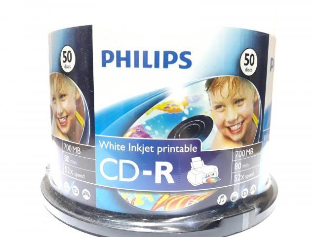 50 Mídia Virgem CD-R Philips Printable 80min 700mb