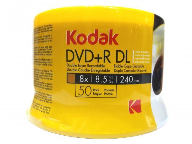 50 Mídia Virgem Dvd+r Dual Layer Kodak Printable 8.5gb 240min