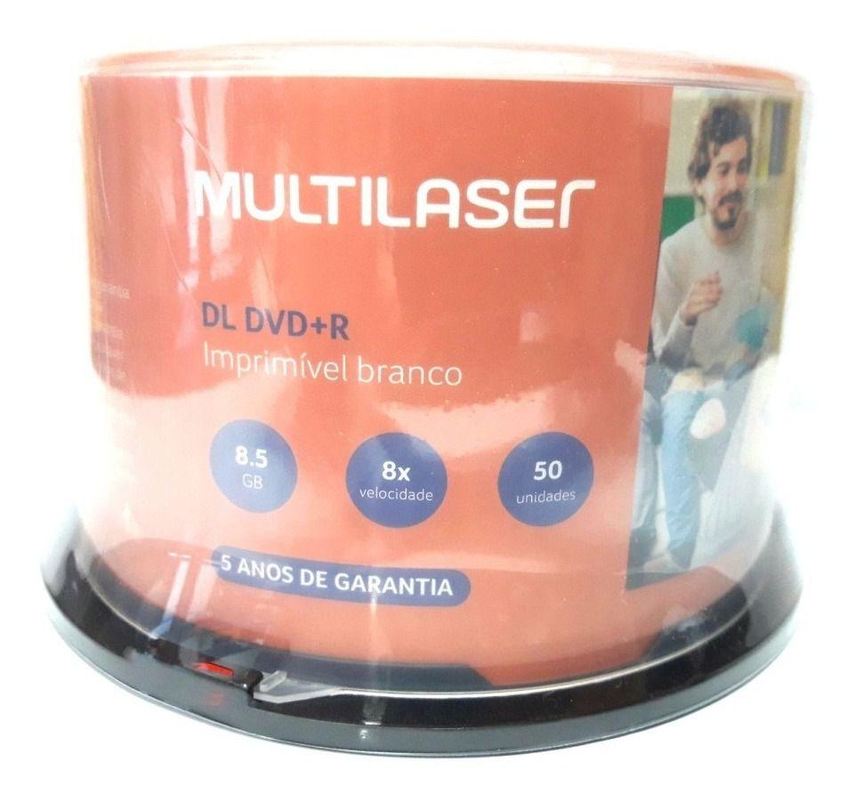 50 Mídia Virgem Dvd+r Dual Layer Multilaser Printable 8.5gb 240min