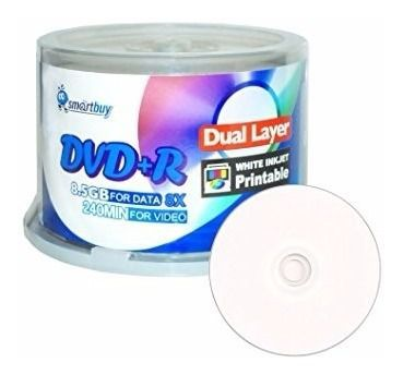 50 Mídia Virgem Dvd+r Dual Layer Smartbuy Printable 8.5gb 240min