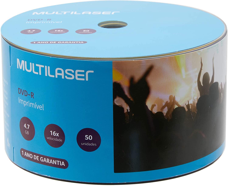 50 Mídia Virgem Dvd-r Multilaser Printable 4.7gb 120min