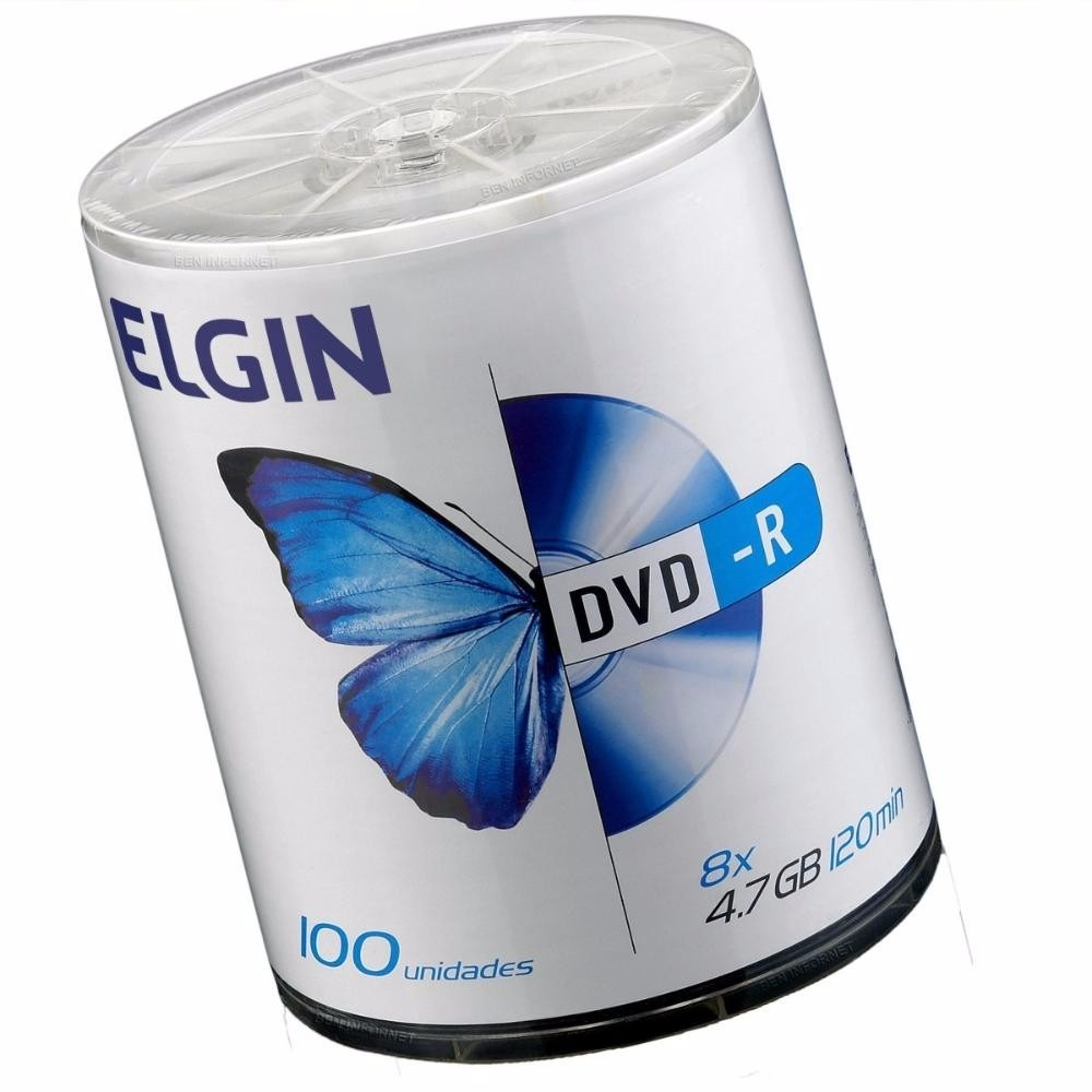 100 Mídia Virgem DVD-R Elgin Logo 4.7gb 120min