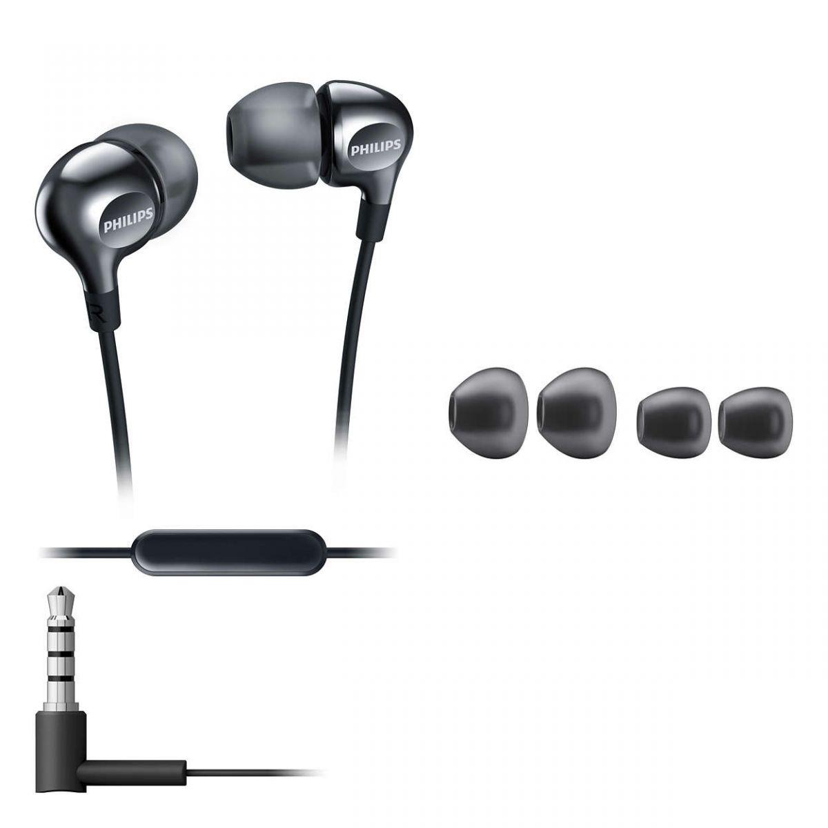 Fone de Ouvido Com Microfone Intra Auricular Philips SHE3705BK/00 Preto
