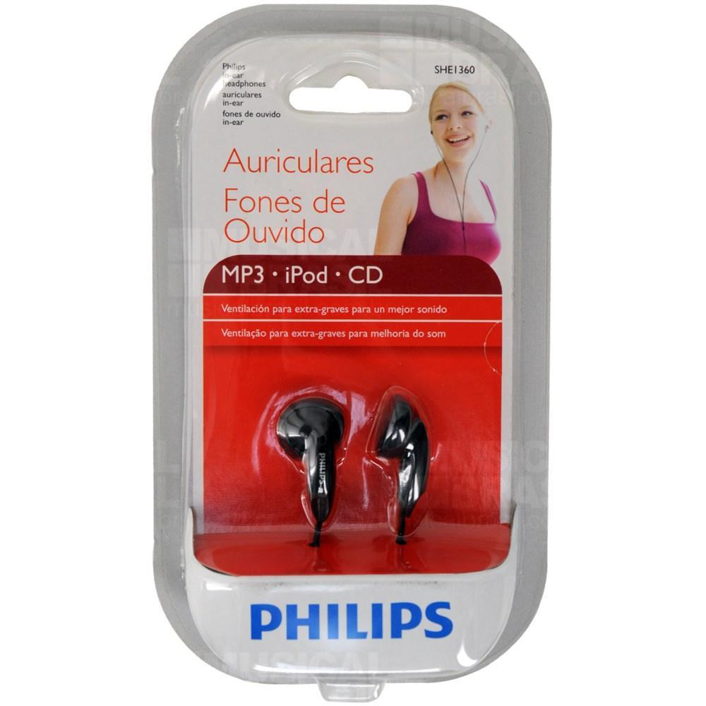 Fone de Ouvido Intra Auricular Philips SHE1360/55 Preto