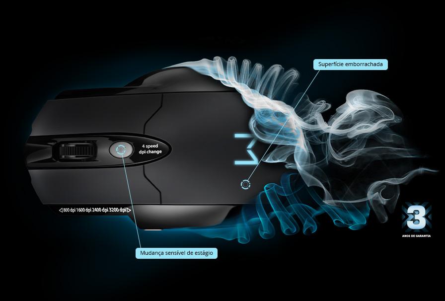 Mouse Gamer Warrior Multilaser 3200dpi MO191