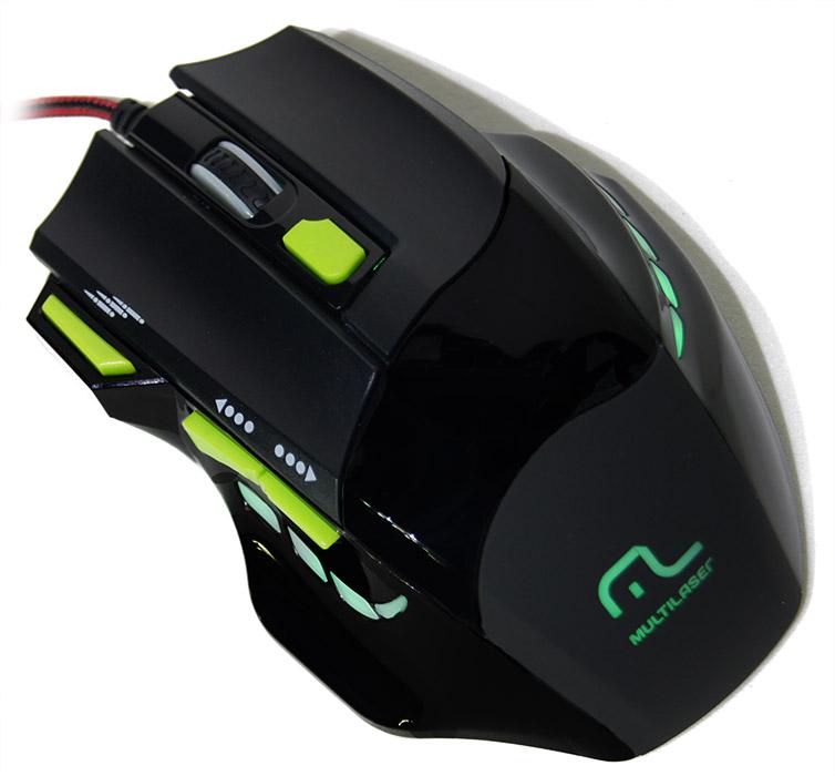 Mouse Óptico Usb Gamer Multilaser 7 botões 2400dpi MO208