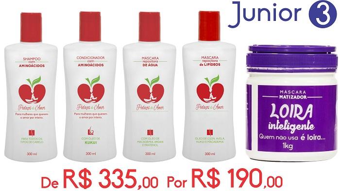 Junior 3-Shampo e Condicionador com Aminoácidos + Máscaras Água e Lípidios + Loira Inteligente