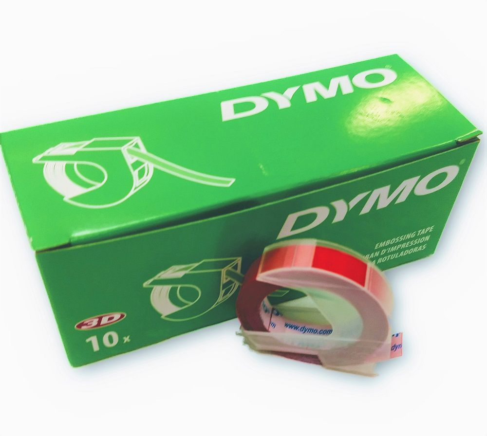 10 Fitas Vinílicas Vermelha 9mmx3m P/ Rotulador Manual Dymo