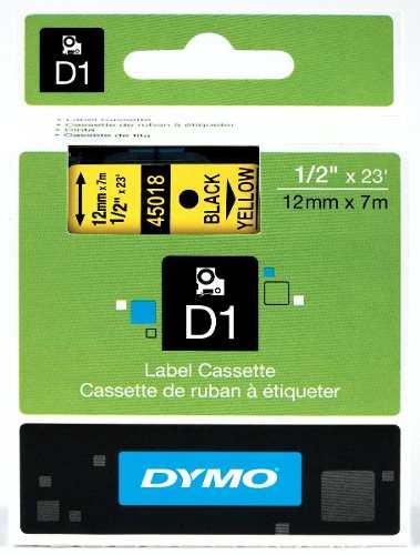 Fita D1 Poliéster 12mmx7m Preto no Amarelo 45018 Dymo
