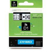 Fita p/ Rotulador profissional Labelmanager 19mmx7m pt/ Branca 45803 D1 Dymo