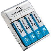 Carregador De Pilhas AA/AAA + 4 Pilhas AA 2500mah Multilaser Cb054