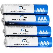 Pilha Recarregável AAA 1000 Mah blister com 4 Pilhas Multilaser CB050