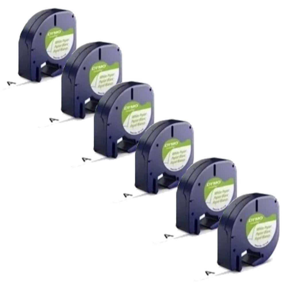 6 Fitas Dymo Rotulador Letratag 12mmx4m Papel Branca 10697