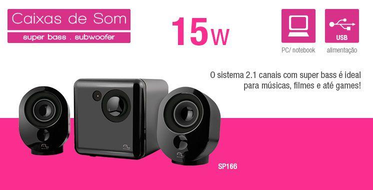Caixa De Som Multilaser 2.1 Preto E Grafite Usb - SP166