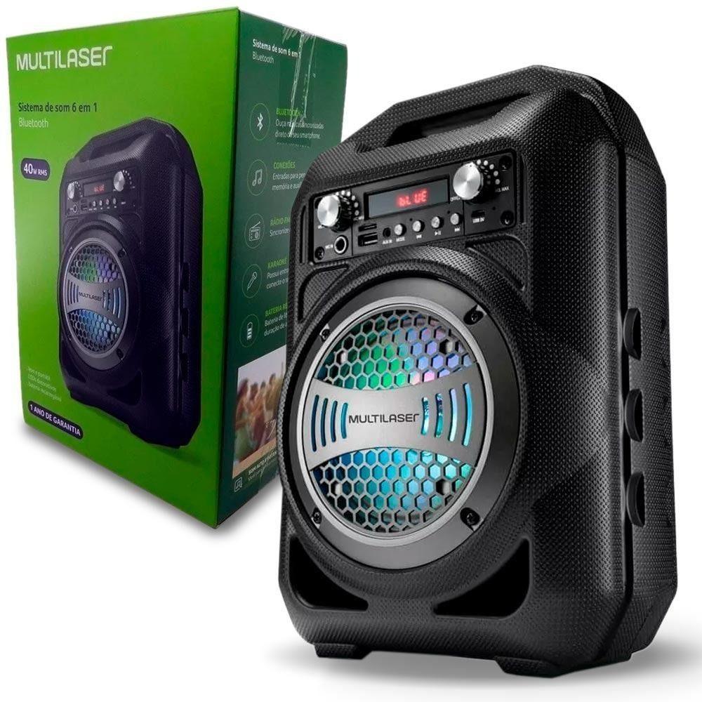 CAIXA DE SOM PORTÁTIL BT/FM/SD/P2/USB 40W MULTILASER SP256