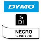 Fita p/ Rotulador profissional Labelmanager 12mmx7m pt/ Transparente 45010 D1 Dymo