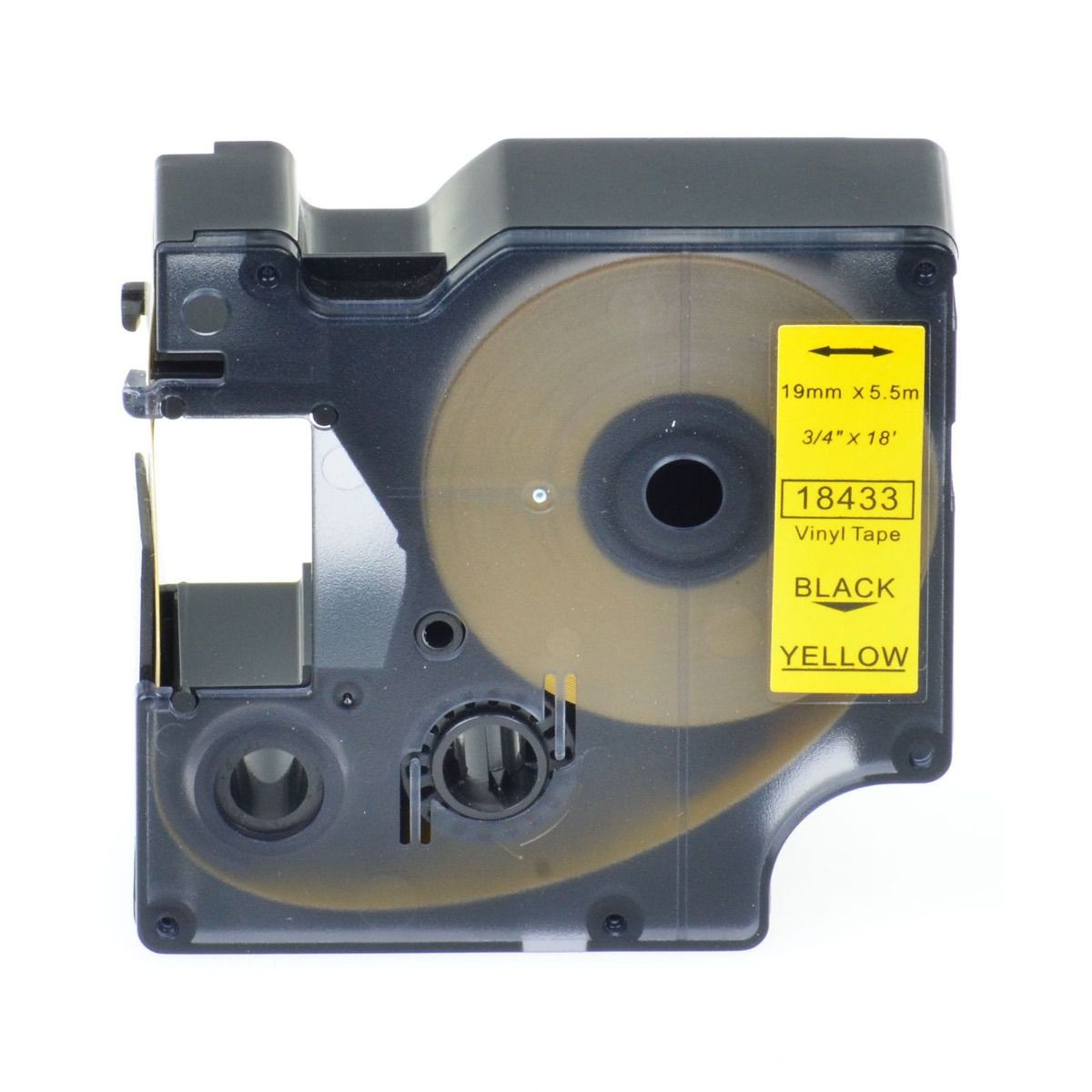Fita Vinil (PVC) 3M Rhino Dymo 19mmX5,5m Preto no Amarelo 18433