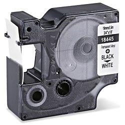 Fita Vinil (PVC) 3M Rhino Dymo 19mmx5,5m Preto no Branco 18445