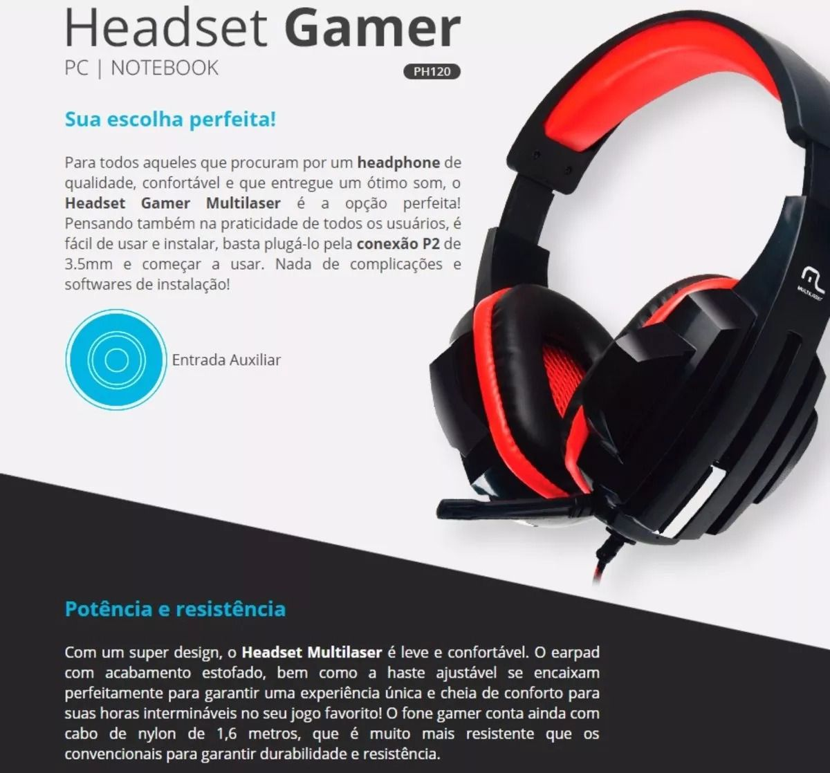 Fone Headset Gamer P2 Cabo Nylon Multilaser Ph120