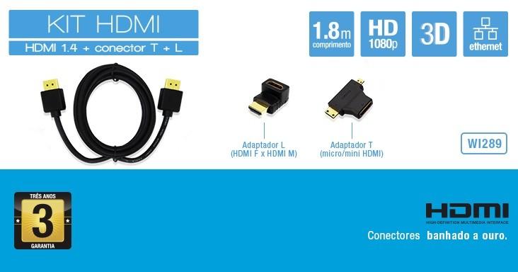 KIT HDMI 1.4 + ADAPTADOR L+T MULTILASER WI289
