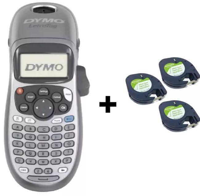 Rotulador Eletrônico Dymo Letratag Lt100h Com 3 Fitas Papel