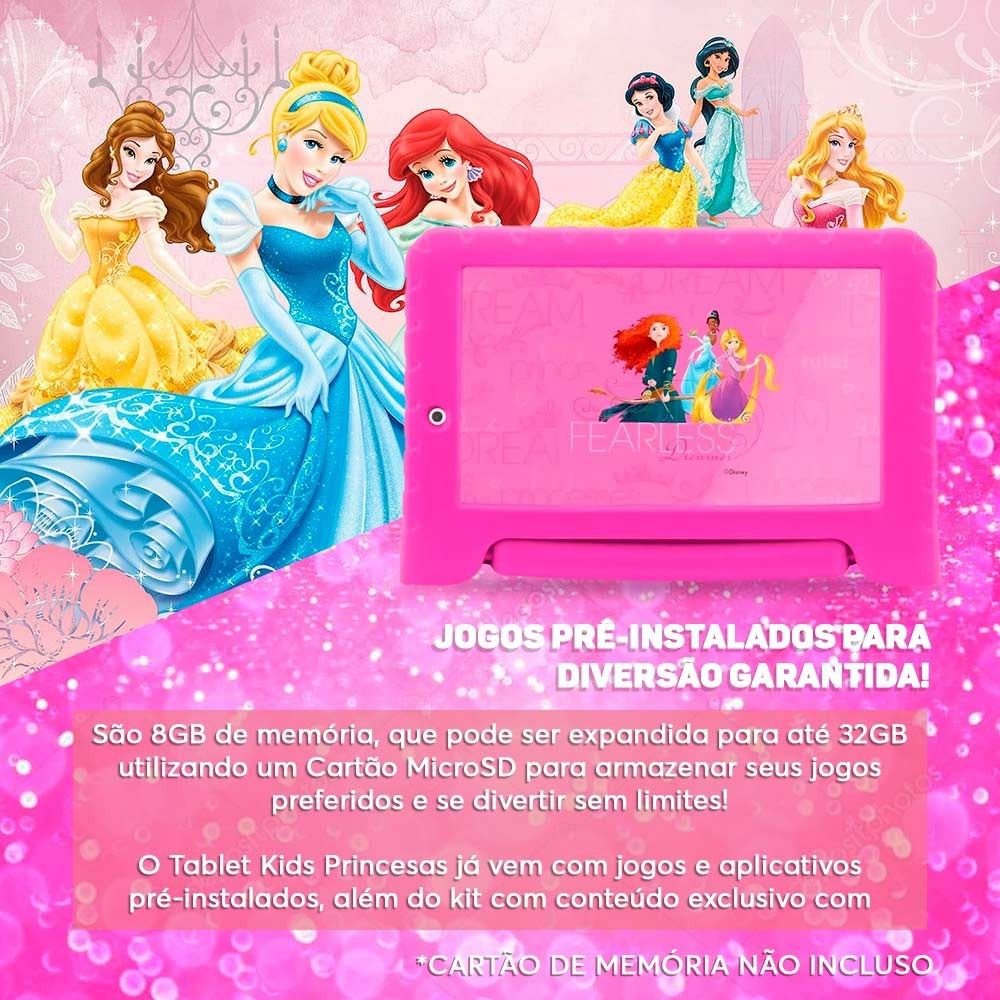 Tablet Princesas Disney PLUS Multilaser 8GB 7 Wi-Fi Android Quad Core NB281