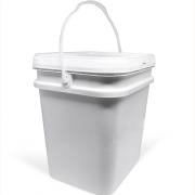 Balde plástico Retangular branco ou preto com tampa 18 litros - 10 Unidades