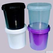 Pote plástico branco com tampa 1 litro - 100 Unidades