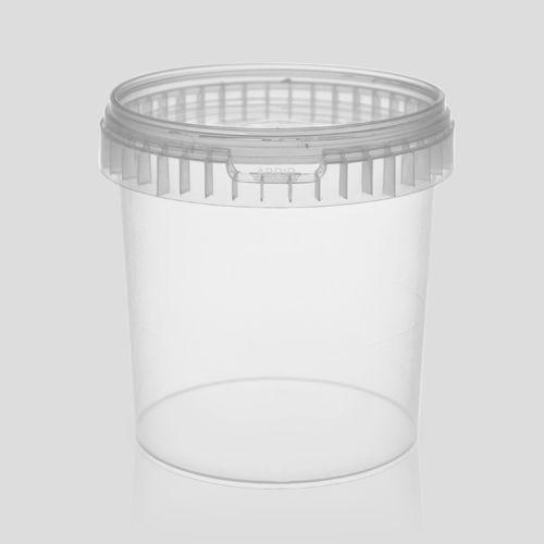 Balde plástico branco com tampa 1 litro - 100 Unidades