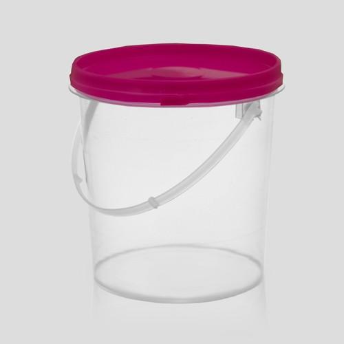 Balde plástico transparente com tampa  500ml - Embalagem com 100 unidades
