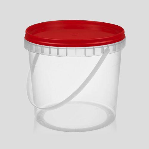 Balde plástico branco ou transparente com tampa 1,8 litros - 100 Unidades