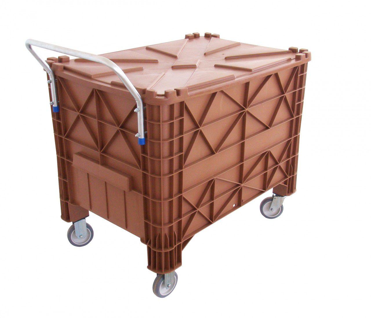 Caixa Plástica 370 litros com tampa e rodas e puxador (Completa)