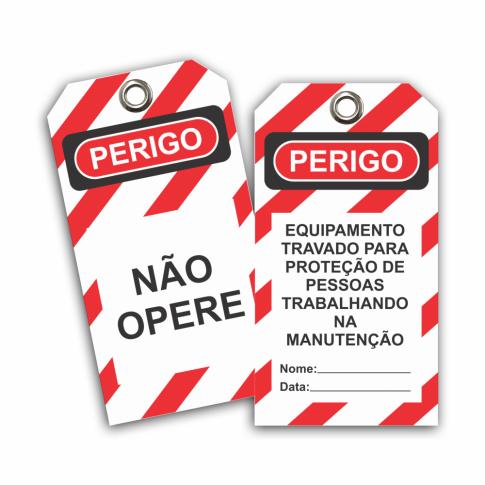 ETIQUETA DE BLOQUEIO EQUIPAMENTO TRAVADO PARA PROTEÇÃO DE PESSOAS TRABALHANDO NA MANUTENÇÃO