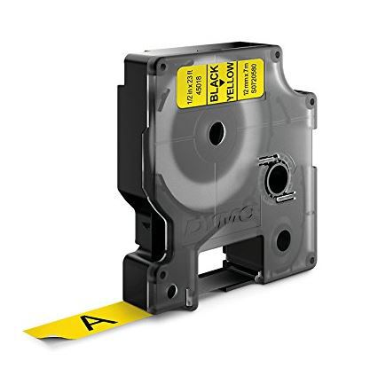 Fita p/rotulador eletronico 12mmx7mt Pt/Amarelo