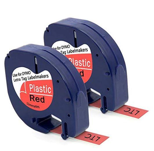 Fita p/rotulador letratag 12mmx4mt (plástica) vermelho