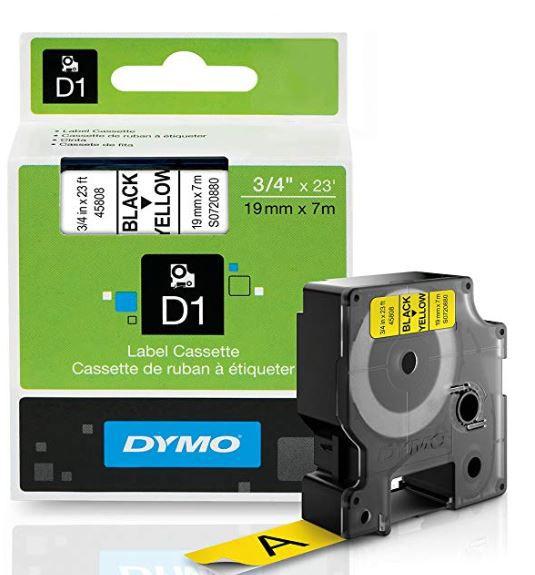 Fita Poliéster Dymo auto-adesiva p/ Rotulador Eletrônico Profissional (19mm x 7 mts) PT/AM