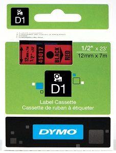 Fita Poliéster Dymo p/ Rotulador Eletrônico Profissional (12mm x 7 mts) PRETO/VERMELHO