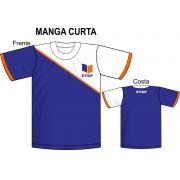 Camiseta Manga Curta Marinho C/ Recorte Branco ETEP
