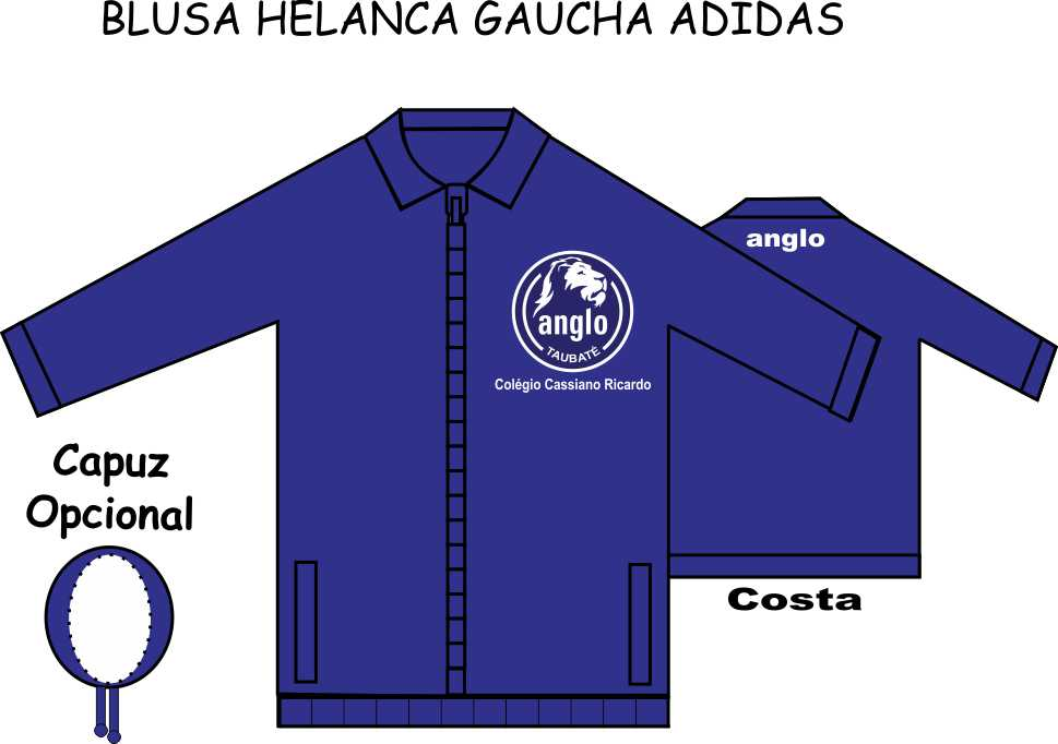 Blusa Helanca Gaucha Adidas Aberta Anglo Taubaté