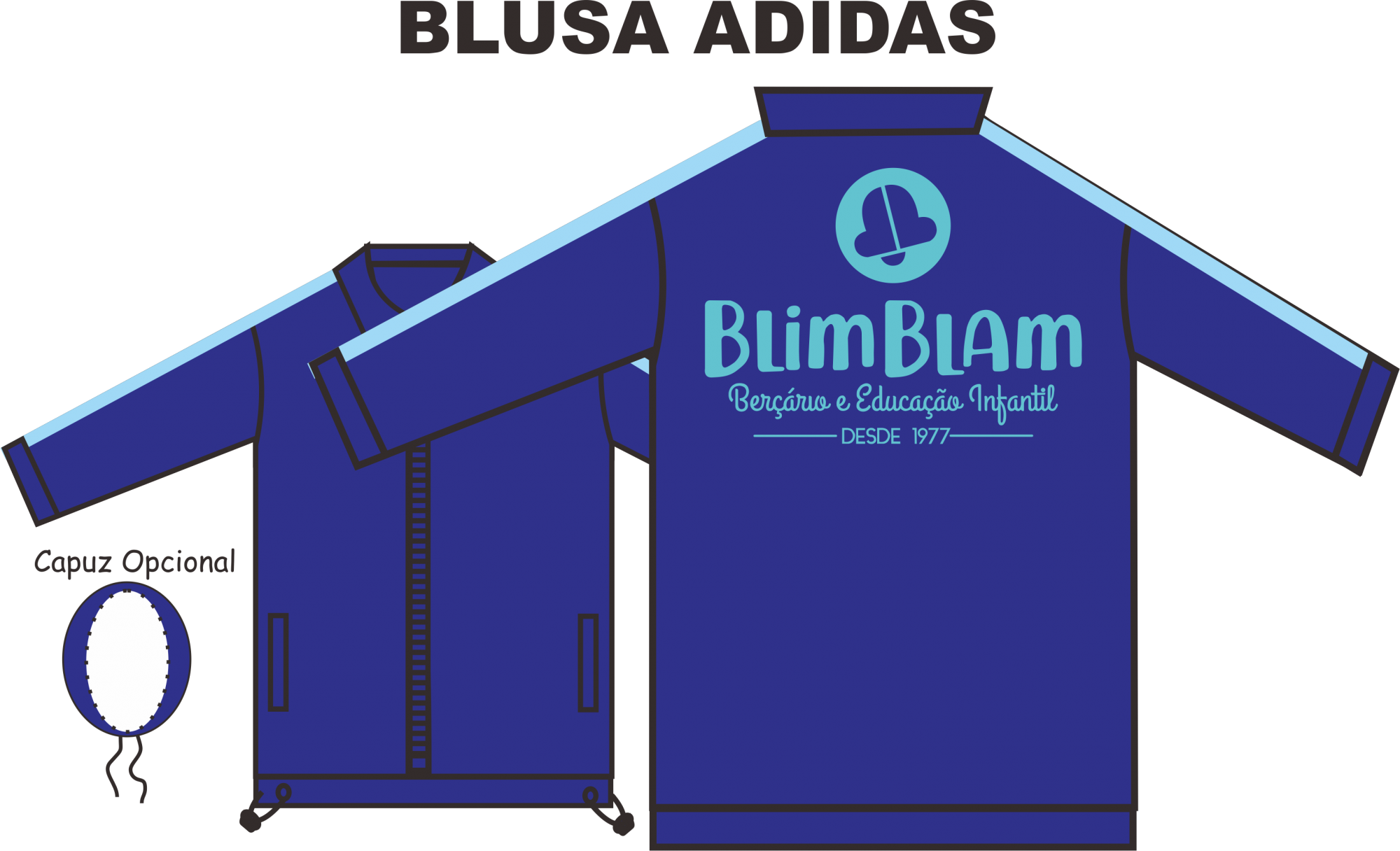 Blusa Helanca Gaucha Adidas Aberta Blim Blam