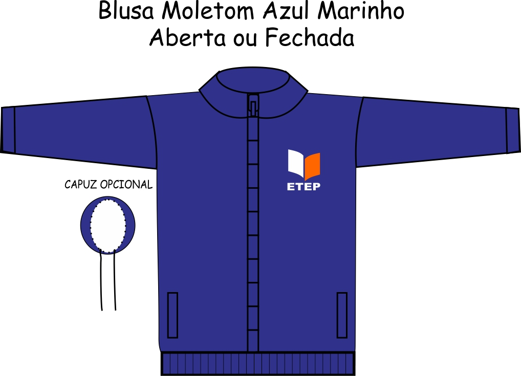 Blusa Moletom Marinho S/ Recortes ETEP