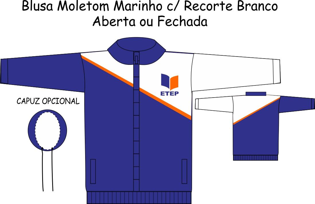 Blusa Moletom Marinho C/ Recorte Branco ETEP