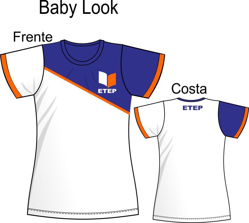 Camiseta Baby Look Branca C/ Recorte Marinho ETEP