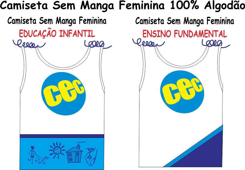 Camiseta Sem Manga Feminina CEC  Malha 100% Algodão