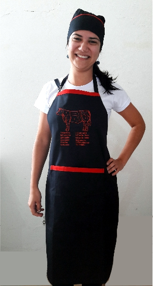 Kit Churrasco Avental e Bandana de Brim Leve Corte de Carnes