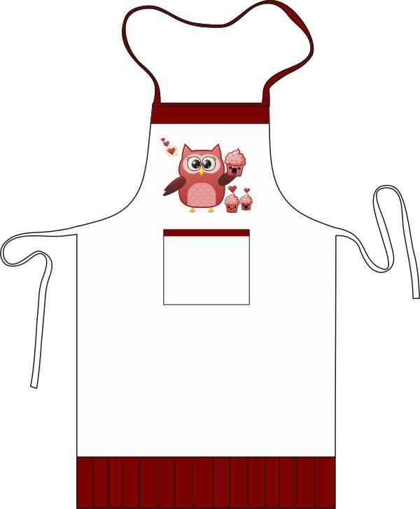Kit Cozinha Avental e Bandana de Microfibra Coruja Cupcake