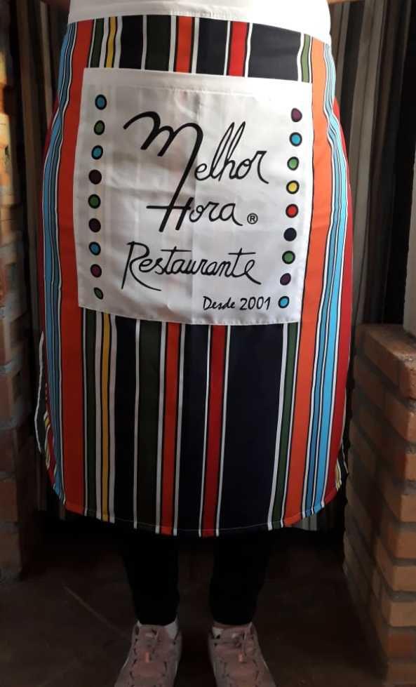 Meio Avental de Tactel Sublimado c/ Bolso Frontal Melhor Hora Restaurante