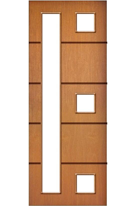 Porta de Madeira Frisada com Detalhe Vidro Acabamento Curupixá PTL43