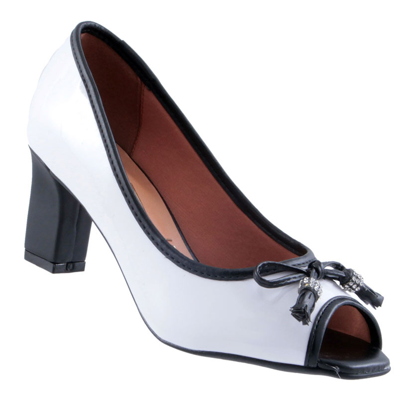 Sapato Peep Toe Vizzano Verniz Cristal Brilho Feminino 1818415