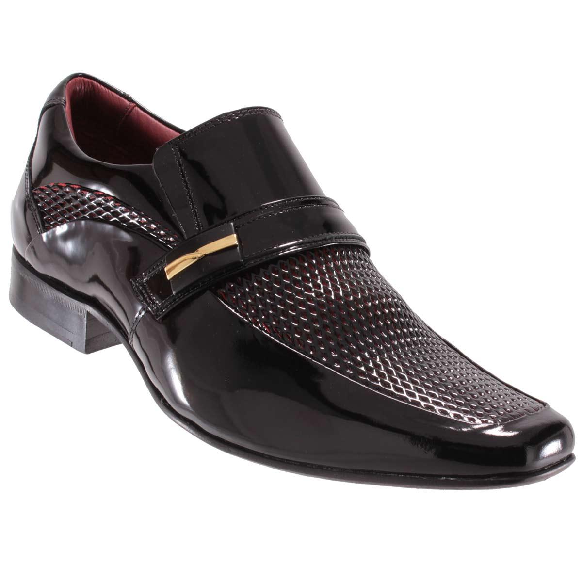 Sapato Social Gofer Masculino Fivela Couro Verniz Legítimo 0253A